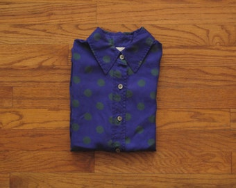 womens vintage silk polka dot shirt