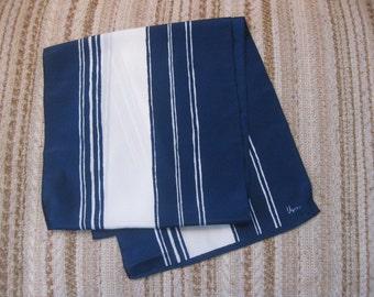 Vera Neumann Blue and White Striped Scarf