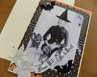 Come Sit for a Spell Halloween Embellished Card - Blank Greeting - Black White