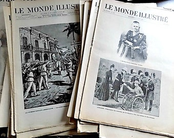 Antique French Newspaper - Montreal - Le Monde Illustre Nordic French Inspired