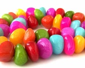 Candy jade bead strand, multicolored nuggets, smooth polished, multicolor candy jade