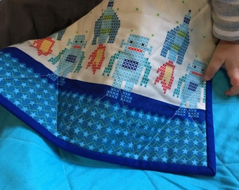 Robots and Rockets Baby Quilt