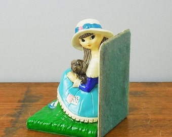 MOVING SALE Doe-Eyed Girl with Puppy Bookend