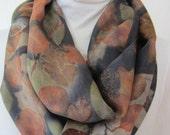 New silk scarf .Habotai silk scarf.Handmade. Eco print .Leaf pattern. Scarf. Eco dye.Multicolor. Dark grey,brown,purple,orange,tan,red color
