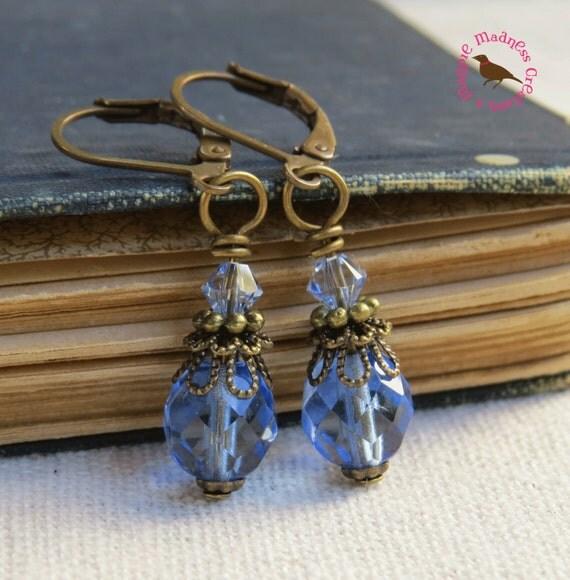 Sapphire Drop Earrings Blue Vintage Brass by ...