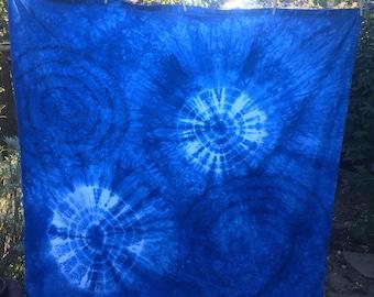 Indigo natural hand dyed Shibori Shower Curtain