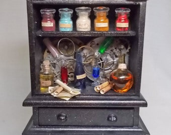 Dolls house Miniature ## SALE ##  filled Wizard Steampunk Apothecary Cabinet