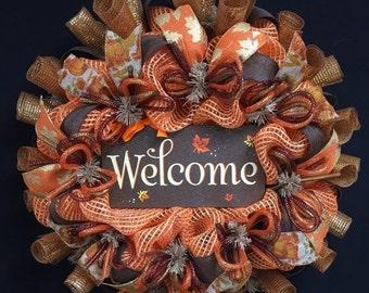 ON SALE Fall Welcome Wreath, Fall Decor, Fall Door Wreath, Autumn Door Wreaths, Autumun Decor