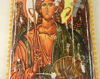 Archangel St Michael Christian Icon Canvas Religious Wall Art Handmade