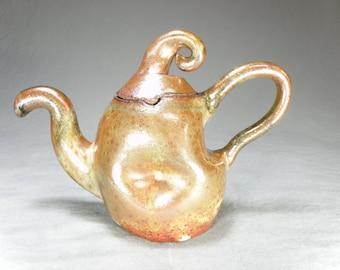 Handmade Organic Shaped Ceramic Teapot. Soy Sauce Pot.  12 oz Tea Pot.