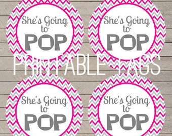 printable chevron she's going to pop baby shower tags, pink and gray chevron going to pop labels, chevron baby shower tags
