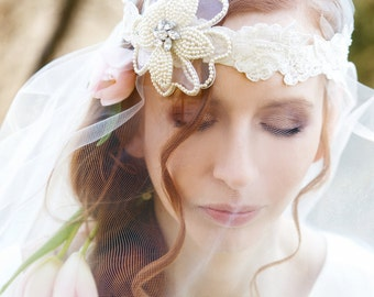Wedding Headband, Bridal Headpiece, Bridal Headband, Ivory Bridal Headband, Flower Headband, Bridal Accessories
