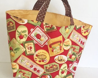 Apple themed Shopping Bag, Market Tote
