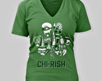 CHI-rish St. Patrick's Day Drink Womens V-Neck T-Shirt
