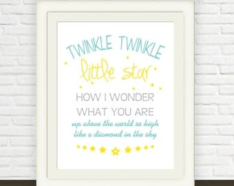 Twinkle Little Star Art Print // Instant Download // Digital Image // Nursery Wall Art in blue and yellow // boys girls Baby Art Printable