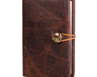 "Merlot Saddle Refillable Leather Journal with Dragon Blood Jasper 4"" x 6"" (JS-34)"