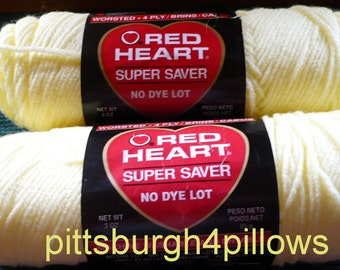3 - Red Heart - Super Saver - 3 Ozs. - 322 Pale Yellow - 0319 Cherry Red Price Is For All - Read Below -  100% Acrylic