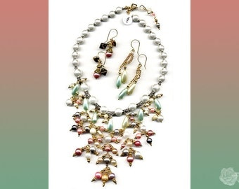"""17"""" to 18"""" Bib Necklace Pastel Pearls Mixed Metal Gold and Silver Pewter Spacers White Pearls Body Lobster Clasp Adjustable And/Or Earrings"""