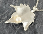 Leaf Necklace Sterling Silver Leaf Necklace with white Pearl Gift For Women Foliage Jewelry, Woodland Jewelry leaf Pendant June Birthstone