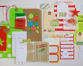 Christmas Red + Green December Daily Holiday Tag + Embellishment Kit Collection . Planner Scrapbooking Gift Packaging Mini Album Midori