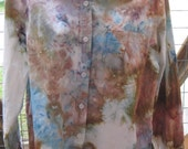 Tie Dye - Ice Dyed - Upcycled-Recycled - Button Up Womens Shirt Size L- Ready to Ship - Casual Shirt - 100% Cotton - Multi Colored