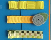 Set of 7 hair clips. Assorted hair clips.  Citrus. RTS
