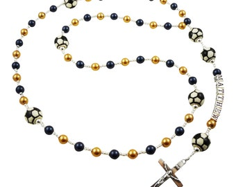 Navy & Gold Pearl First Communion Soccer Rosary, choose colors/Name Prayer Beads, Personalized, Catholic Baptism christening, godparent gift
