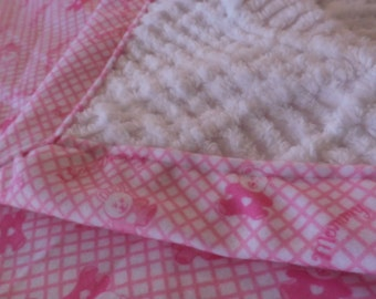 Baby Blanket - quilt -  Softest Vintage Chenille and I Love Mommy  Fleece