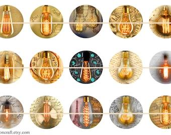 "Edison Lamp Magnets, Edison Lamp Pins, Edison Light Bulb, Steam Punk, 1"" Inch Hollow Backs, Flat Backs, Cabochons, Badges 12 ct"