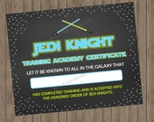Star Wars Certified Jedi Certificate - Printable DIGITAL DOWNLOAD
