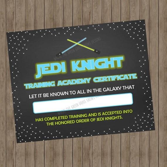 Star Wars Certified Jedi Certificate - Printable DIGITAL DOWNLOAD