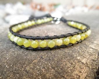 Single Saguaro Jasper and Leather Wrap Bracelet