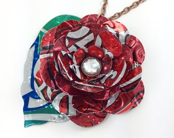 Pepper Rose Necklace. Recycled Soda Can Art. Long 30 inch. Dr Pepper Flower