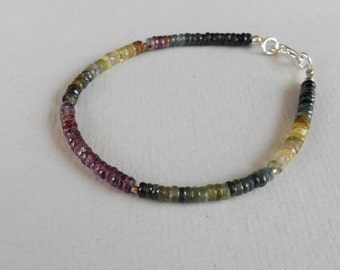 Genuine Madagascar multi color Sapphire rondelle faceted bead bracelet 33 CTS with silver 925 clasp / 7.50 inch