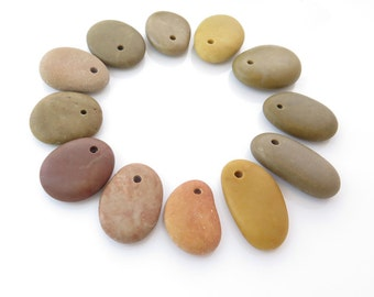 Top Drilled Beach Stone Medium, Jewelry Supplies Organic Beads, Drilled Pebbles 12 pcs , Colorful Natural Stone Beads