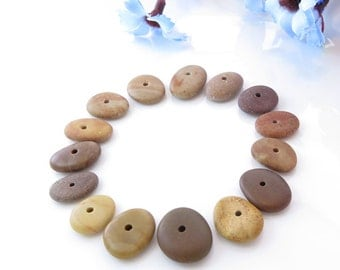 Center Drilled Beach Stones, Medium Colorful Pebbles Jewelry Supplies, Organic Colorful Beads, Natural Stones Surftumbled