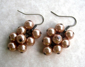 Copper Pearl Cluster Earrings