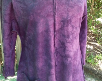 Rich Grape Raglan Organic Cotton & Hemp Hand Dyed Available in 4 Sizes