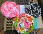Elastic Ribbon Hair Ties with Fabric Flowers Vintage Fabric Rosette Hair Ties Elastic Ties with Flowers Set of Three