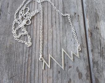 Heartbeat Necklace. Sterling Silver Heartbeat Necklace. Silver Heart Necklace. Heartbeat Jewelry. Heartbeat. Pulse Jewelry. Silver Pulse.