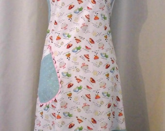 Apron Handmade Size Lrg. Cake & Desserts decorated Sewing Fabric-Full bib apron