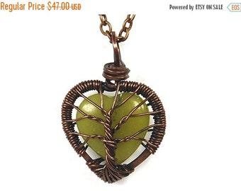 25% OFF Vacation Sale Baby Tree Love. A Heart Shaped Jade Stone Tree of Life Necklace in Antique Copper.