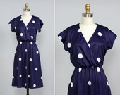Polka Dot Dress XS/S • Navy Blue Dress • 70s Dress • Preppy Dress • Flared Dress • Wrap Dress • Knit Dress • Knee Length Dress | D643