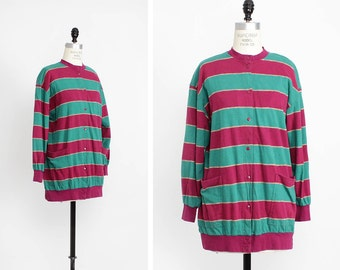 Marimekko Cardigan M • Vintage Marimekko Sweater Medium • Purple and Green Striped Cardigan • Slouchy Sweater • Marimekko Print | T231