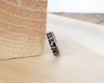 Hieroglyphics Silver Ring • Novelty Ring • Sterling Silver Band • 925 Silver Ring • Bohemian Jewelry • Sterling Silver Stacking Ring |R206
