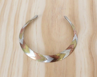 Choker Necklace • Mixed Metal Necklace • Copper Choker • Chevron Necklace • Boho Choker • Brass Choker • 70s Jewelry • Silver Choker | N209
