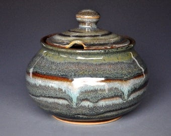 Mahogany Swirl Sugar Bowl Small Ceramic Stoneware Jar B