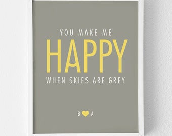 Personalized Art Print / 'You Make Me Happy' Typography Print Only / Wedding Sign Decor / Just Married / Anniversary Gift / MEDIUM SIZE