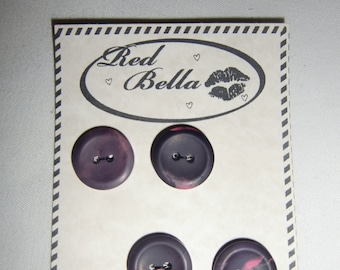 "Card of Four Midnight Aubergine  3/4"" Polymer Clay Buttons #06"