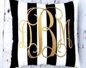 Monogram Pillow - Personalized Pillow - Metallic Gold Monogram - Interlocking Vine Monogram - Custom Pillow - Stripe Pillow - Fancy Monogram